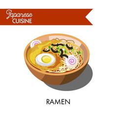 Ramen noodle japanese cuisine traditional soup vector