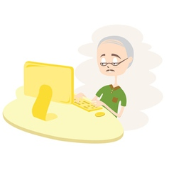 Happy old man using computer vector