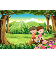 A stump with two adorable kids vector