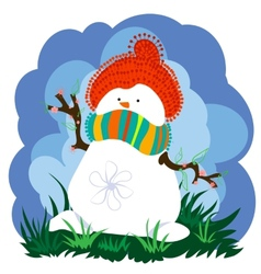 Snowman in spring with clouds vector