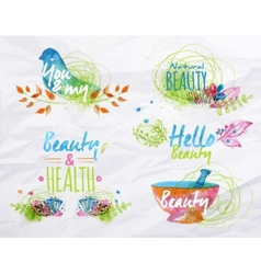 Watercolor symbols beauty vector