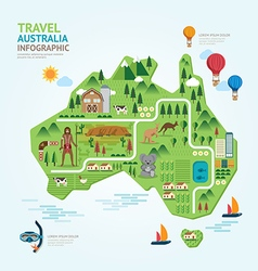 Infographic travel and landmark australia map shap vector image