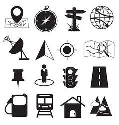 Map destination and location icons set vector