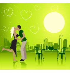 Valentine day urban scene couple vector
