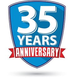 Flat design 35 years anniversary label with red vector