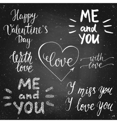 Valentines day chalk calligraphy lettering set vector