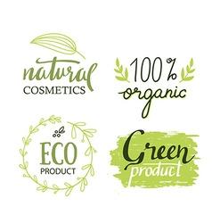 Organicbioecology natural labels set Green logo vector image