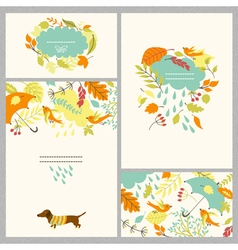 autumn set with four cards vector image