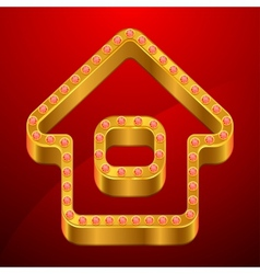 Abstract background with gold house and jewels vector image