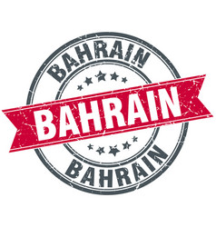 bahrain red round grunge vintage ribbon stamp vector image