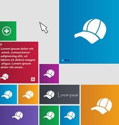 Ball cap icon sign buttons modern interface vector