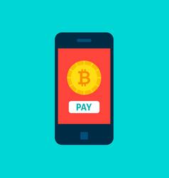 Bitcoin mobile pay concept vector
