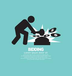 Black symbol bidding auction sign vector