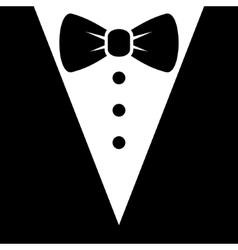 Bow tie and black suit icon vector