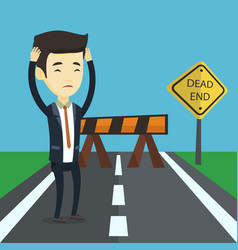 business man looking at road sign dead end vector image