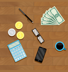 calculation money top view vector image vector image