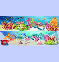 cartoon marine underwater life horizontal banners vector image