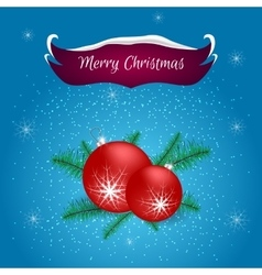 Christmas card with a red banner and ball vector