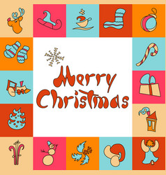 Christmas greeting card a set of images for xmas vector