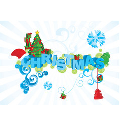 Christmas text ornamental picture vector