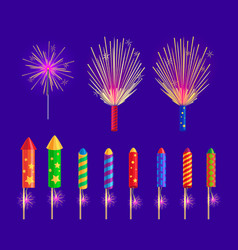 Colourful firework rockets on blue background vector