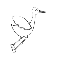 Cute stork bird isolated icon vector