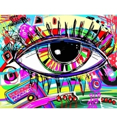 Digital painting of human eye colorful vector