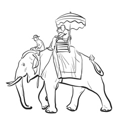Elephant riding sketch vector