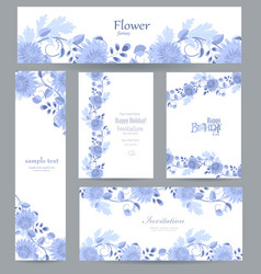 fashion collection of greeting cards with blue vector image vector image