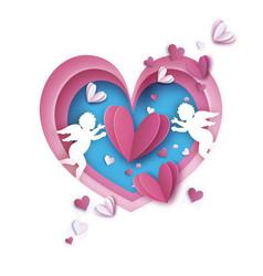 flying cupids - little angels love pink frame vector image vector image