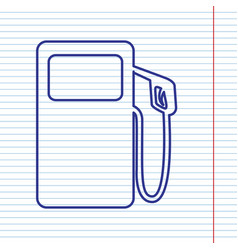 Gas pump sign navy line icon on notebook vector