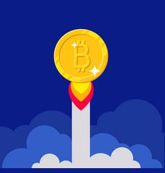 Gold bitcoin increase cartoon style vector
