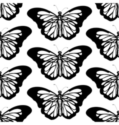 Graphic butterfly black and white seamless pattern vector