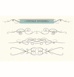 Hand drawn flourishes vintage text dividers vector