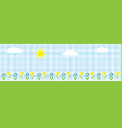 horizontal background with sunclouds and flowers vector image vector image