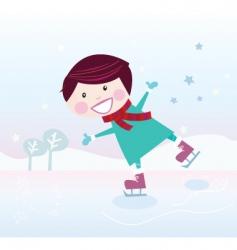 ice skating boy vector image