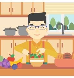 Man cooking vegetable salad vector image