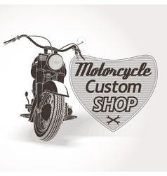 Motorcycle custom motor shop emblem vector image
