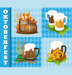 Oktoberfest beer festival icons and symbol objects vector
