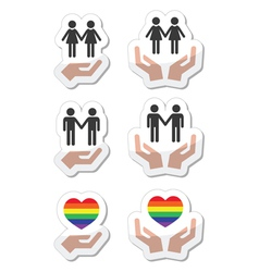 Rainbow gay and lesbian symbols in heart with han vector image
