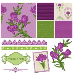 Scrapbook Design Elements - Iris Flowers vector image vector image