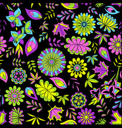 Seamless pattern with flowers on black vector