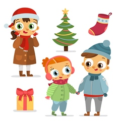 Set of children characters and christmas symbols vector image vector image