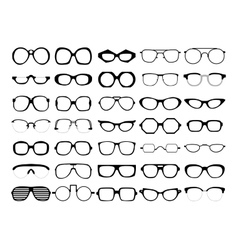 Set of glasses retro wayfarer geek vector