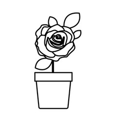 Silhouette flowered rose with leaves and stem in vector