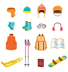 Winter equipment icons set vector