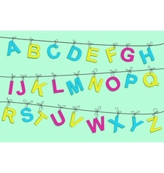 Colorful alphabet letters on a rope vector