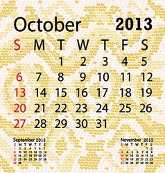 october 2013 calendar albino snake skin vector image