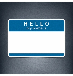 Blue blank tag sticker hello my name is vector