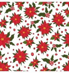 Christmas seamless patternred poinsettia flowers vector